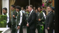 Exterior shots of the Pakistan cricket team leaving Marriott Hotel Swiss Cottage following the News Of The World match fixing allegations regarding...