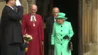 Exterior shots of the Queen and Duke of Edinburgh departing from St George's Chapel after attending the Easter Sunday service on April 16 2017 in...