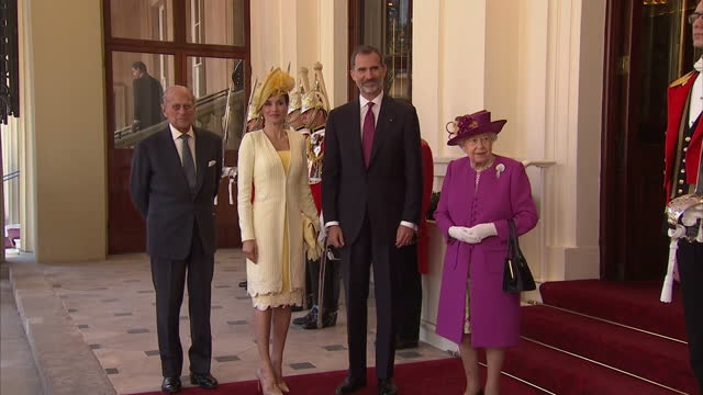 Exterior shots of the Queen arriving at Buckingham Palace by carriage accompanied by King Felipe of Spain followed by the Duke of Edinburgh with...