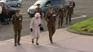 Exterior shots of the Queen posing for a group photograph with the Royal Scots Dragoon Guards>> on September 28 2015 in Leuchars Scotland