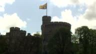 Exterior shots of the Royal Standard flag flying ontop of Windsor Castle on April 08 2014 in London England