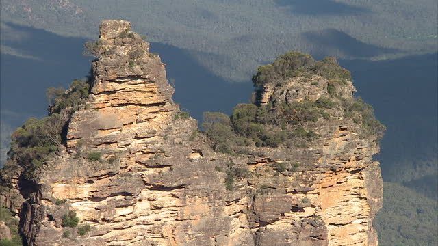 Exterior shots of The Three Sisters rock formation in the Blue Mountains close to the town of Katoomba in New South Wales Australia