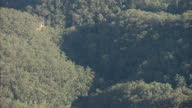 Exterior shots of the view from Echo Point of widespread trees and cliffs in the distance close to The Three Sisters and the town of Katoomba in New...