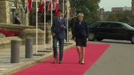 Exterior shots of Theresa May and Canadian PM Justin Trudeau stood as the National Anthems are played on 18 September 2017 in Ottawa Canada