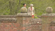 Exterior shots of Theresa May and Japanese Prime Minister Shinzo Abe walking in the grounds of Chequers on 28 April 2017 in Princes Risborough United...