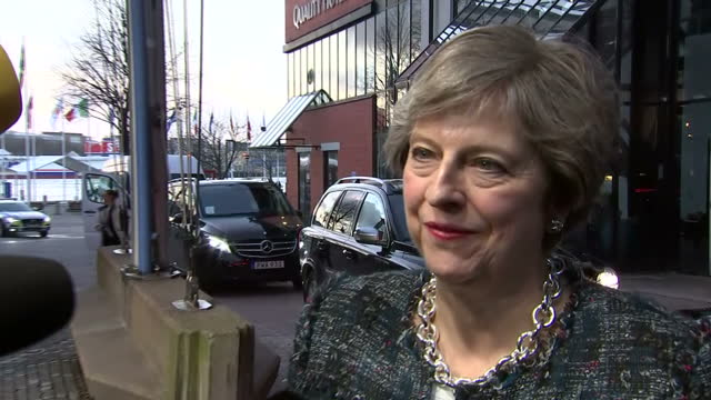 Exterior shots of Theresa May arriving at the Eriksberghallen for the EU social summit and speaking about the agenda for the summit including the...