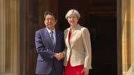 Exterior shots of Theresa May greeting Japanese Prime Minister Shinzo Abe outside Chequers and the two walk inside on 28 April 2017 in Princes...