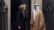 Exterior shots of Theresa May greeting Sheikh Mohamed bin Zayed Al Nahyan Crown Prince of Abu Dhabi outside Number 10 Downing Street>> on February 23...
