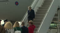 Exterior shots of Theresa May walking from an RAF plane and greeting officials on arrival in Ottawa on 18 September 2017 in Ottawa Canada