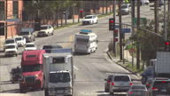 Exterior shots of traffic on busy LA highways and an Amtrak train passing on 1 March 2017 in Los Angeles USA