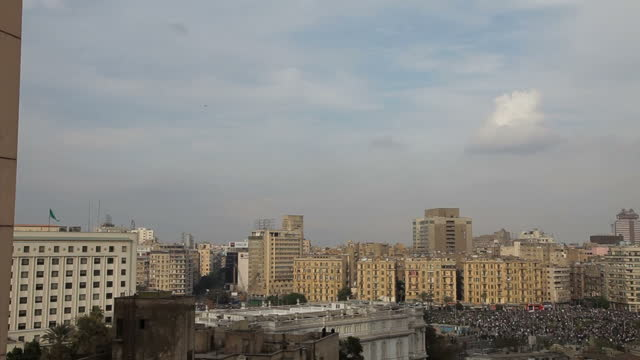 Exterior shots of two F16 jets circling Tahrir Square as protesters gather to protest against President Mubarak on January 30 2011 in Cairo Egypt