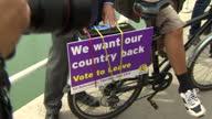 Exterior shots of UKIP Leader Nigel Farage campaigning for Vote Leave on June 13 2016 in Ramsgate United Kingdom UKIP leader Nigel Farage is in...