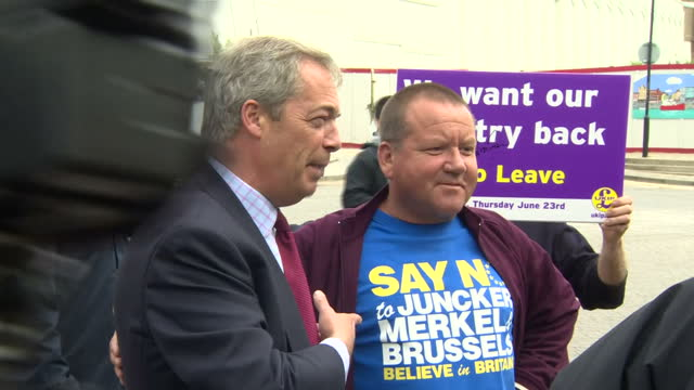 Exterior shots of UKIP Leader Nigel Farage signing UKIP Vote Leave campaign banners and posing for photos with supporters on June 13 2016 in Ramsgate...