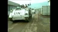 Exterior shots of UN Convoy arriving at Dobrinja in June 1992 in Sarajevo Bosnia and Herzegovina