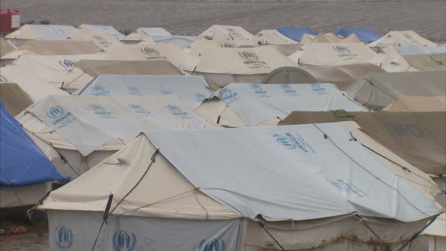 Exterior shots of UNHCR temporary shelter tents at a refugee camp in Derik aka AlMalikiyah on October 18 2014 in NorthEast Syria
