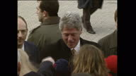 Exterior shots of US President Bill Clinton shaking hands with well wishers upon arrival in Northern Ireland on November 30 1995 in Londonderry...