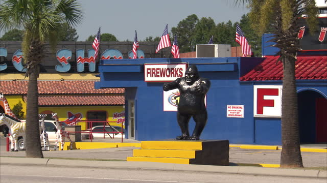 Exterior shots of various colourful roadside attractions in Dillon South Carolina including a Fireworks warehouse and various quirky restaurants with...