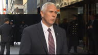 Exterior shots of Vice Presidentelect walk out of car and give interview before walking into Trump tower about cabinet appointments at Trump Tower on...