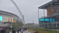 Exterior shots of Wembley stadium advertising on a digital billboard on 3rd April 2014 in London England