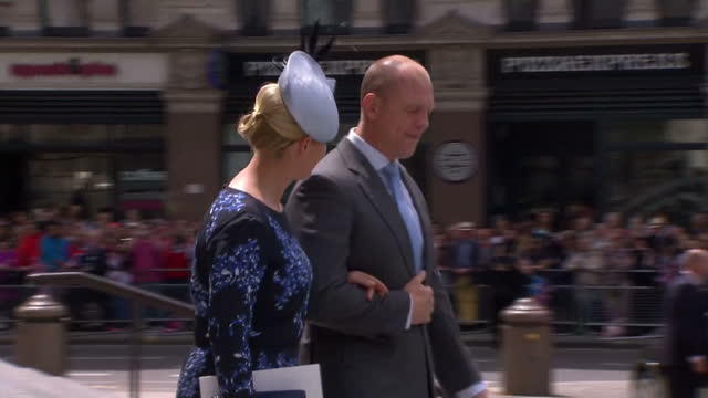 Exterior shots of Zara Phillips and Mike Tindall departing from St Paul's Cathedral>> on June 10 2016 in London England