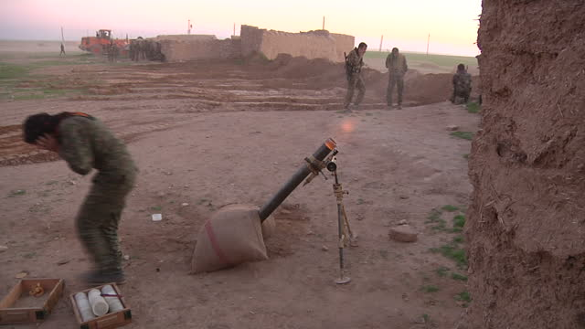 Exterior shots opposition fighters firing mortars at on February 29 2016 in Syria