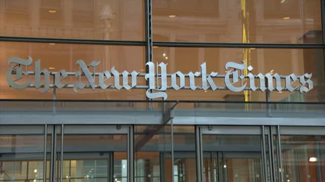 Exterior shots pan New York Times headquarters in Manhattan New York Times Building Exteriors on November 12 2012 in New York New York