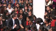 exterior shots PM David Cameron sits talking with Bollywood Actor Aamir Khan surrounded by students David Cameron with Aamir Khan Delhi University on...