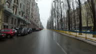 Exterior shots point of view driving through Kiev streets on January 21 2015 in Kiev Ukraine