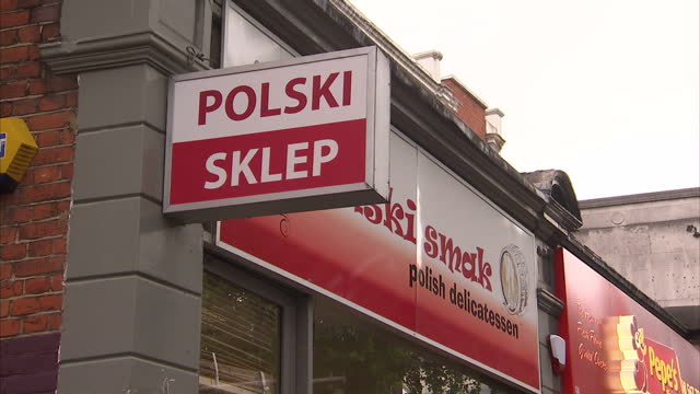 Exterior shots Polish Cafe Polska Kuchnia in London Interior shots Polish Delicatessen Polish shop Polish food goods at shelves in shops Exterior...