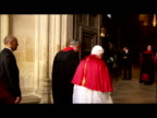 Exterior shots Pope Benedict XVI walks into Westminster Abbey followed by the Archbishop of Canterbury Interior shots Pope Benedict walks into the...