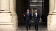 Exterior shots President Barack Obama and David Cameron British Prime Minister walk from Downing Street to the Foreign office on April 22 2016 in...