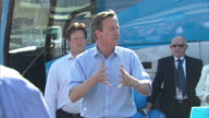 Exterior shots Prime Minister David Cameron leader of Conservative Party addressing party activists in Rothwell Northern Englandon April 21 2015 in...