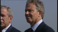 Exterior shots Prime Minister Tony Blair and US President George W Bush at news conference on June 07 2007 in Heiligendamm Germany