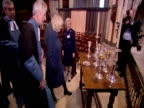 Exterior shots Prince Charles Camilla Duchess of Cornwall greet well wishers outside Lincoln Cathedral Interior shots Charles Camilla chat with...