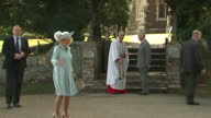Exterior shots Prince Charles Prince of Wales and Camilla Duchess of Cornwall arrive at Church of St Mary Magdalene for christening of Princess...