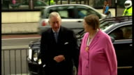 Exterior shots Prince Charles Prince of Wales arrives at the Blooming Scent Cafe in the 639 Centre and greets local Tottenham MP David Lammy and...
