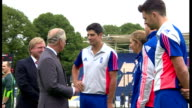 Exterior shots Prince Charles talking with England cricket Captain Alistair Cook whilst on visit to the Swalec Stadium on July 06 2015 in Cardiff...