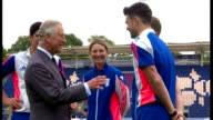 Exterior shots Prince Charles talking with England cricketers Jos Buttler and James Anderson England cricket Captain Alistair Cook and England...