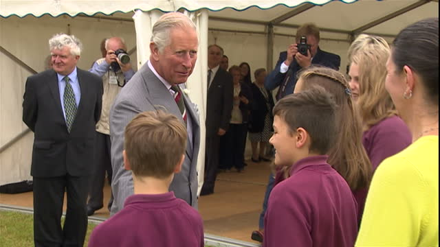Exterior shots Prince Charles The Prince of Wales tours the historic Strata Florida site and views plans for its renovation before attending a...