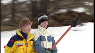 Exterior shots Prince Harry and Zara Phillips on ski lift Royals at Klosters at Klosters on January 02 1998 in Switzerland