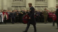 Exterior shots Prince Harry attends a wreath laying ceremony and parade at the Cenotaph to commemorate ANZAC Day on April 25 2016 in London England