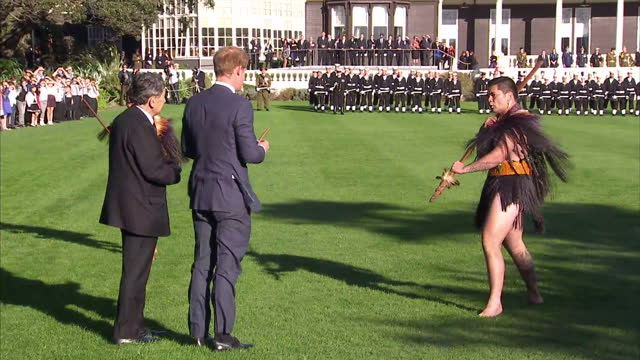 Exterior shots Prince Harry being given traditoinal Maori greeting at Government House on May 09 2015 in Wellington New Zealand