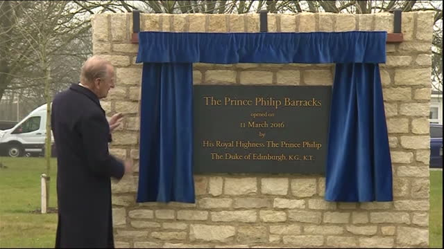 Exterior shots Prince Philip Duke of Edinburgh ColonelinChief Royal Electrical and Mechanical Engineers at ceremony to officially open and name the...