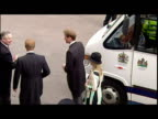 Exterior shots Prince Wililam Prince Harry Zara Phillips arriving at the wedding of Prince Charles Camilla Parker Bowles Prince Charles Camilla...