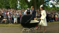 Exterior shots Prince William and Catherine Duchess of Cambridge arrive at Church of St Mary Magdalene for christening of Princess Charlotte of...
