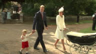 Exterior shots Prince William and Catherine Duchess of Cambridge leaving Church of St Mary Magdalene after christening of Princess Charlotte of...