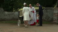 Exterior shots Prince William and Catherine Duchess of Cambridge outside Church of St Mary Magdalene talking with Reverend Canon Jonathan Riviere...