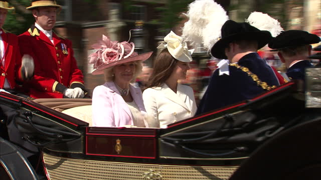 Exterior shots Prince William Catherine Duchess of Cambridge Camilla Duchess of Cornwall Prince Edward in ceremonial dress walk out from ceremony in...