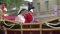 Exterior shots Prince William Catherine Middleton journey along Whitehall through Horseguards escorted by the Household Cavalry Sky News Royal...