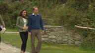 Exterior shots Prince William Catherine walk talk to organiser Catherine Speaking to those taking part in race Prince William Catherine Arriving At...